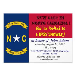 Babyparty-Einladung mit Flagge des North Carolina