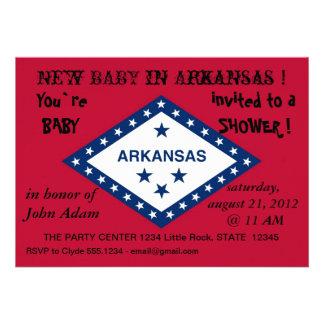 Babyparty-Einladung mit Flagge von Arkansas