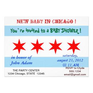 Babyparty-Einladung mit Flagge von Chicago
