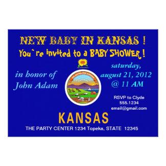 Babyparty-Einladung mit Flagge von Kansas