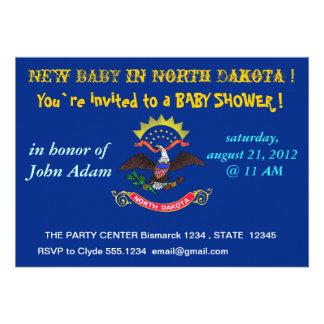 Babyparty-Einladung mit Flagge von North Dakota