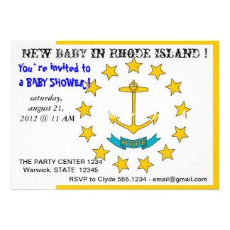 Babyparty-Einladung mit Flagge von Rhode Island