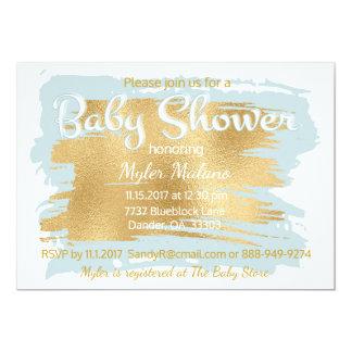 Babyparty-Einladungs-Blau/Gold Karte