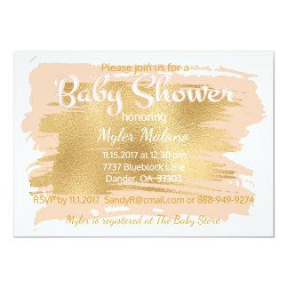 Babyparty-Einladungs-Rosa/Gold Karte