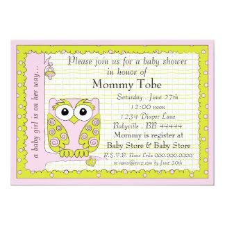 Babyparty-Einladungs-Rosa-Grün-Eule 12,7 X 17,8 Cm Einladungskarte