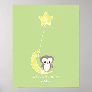 Babyparty-Gast-Buch-Druck der kleinen Eulen-| Poster