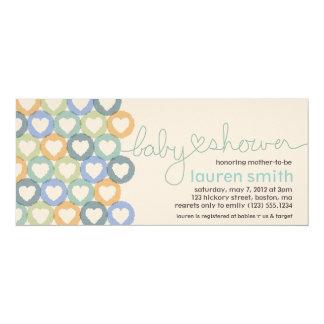 Babyparty-Herz-Einladungs-Junge 10,2 X 23,5 Cm Einladungskarte