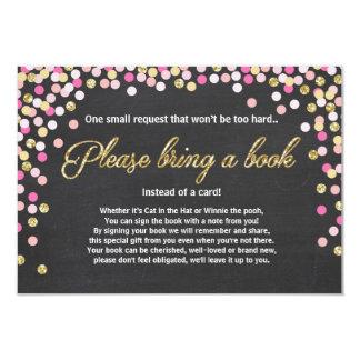 Babyparty holen eine Buch Rosa-Goldmädchenkreide 8,9 X 12,7 Cm Einladungskarte