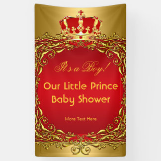 Babyparty-Junge Prinz-Royal Gold Red Crown Banner