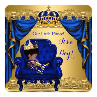 Babyparty-Jungen-kleiner Prinz Königsblau golden Karte