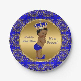 Babyparty Königsblau-Prinz-Crown ethnisch Pappteller