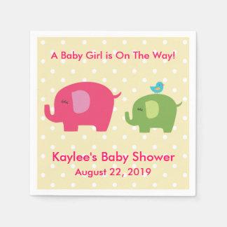 Babyparty-Mädchen-Elefant-Tupfen-Servietten Serviette