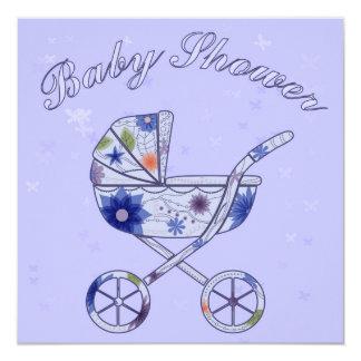 Babyparty mit Kinderwagenblau Karte