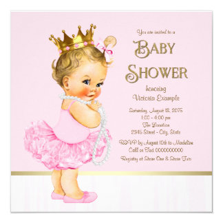 Babyparty Prinzessin-Ballerina Pink Gold Quadratische 13,3 Cm Einladungskarte