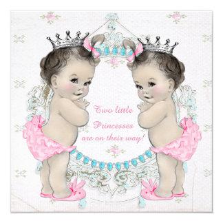 Babyparty Prinzessin-Twin Girl Quadratische 13,3 Cm Einladungskarte