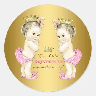 Babyparty Prinzessin-Twin Girl Runder Aufkleber