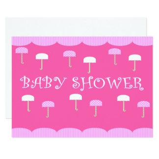 Babyparty-Regenschirm-Rosa 12,7 X 17,8 Cm Einladungskarte