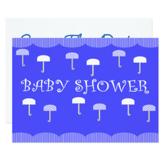 Babyparty-Regenschirme blau 12,7 X 17,8 Cm Einladungskarte