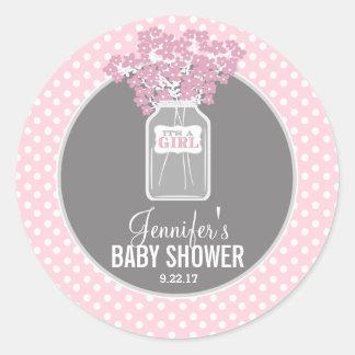 Babyparty-Weckglas (Rosa) Runder Aufkleber