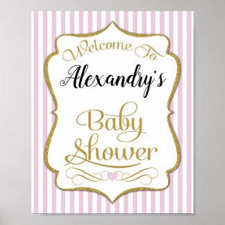 Babyparty-Willkommensschild-Rosa-Gold elegant Poster