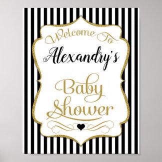 Babyparty-Willkommensschild-Schwarz-Gold elegant Poster