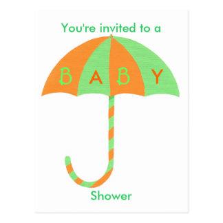 Babypartyeinladung, orange grüner Regenschirm Postkarte