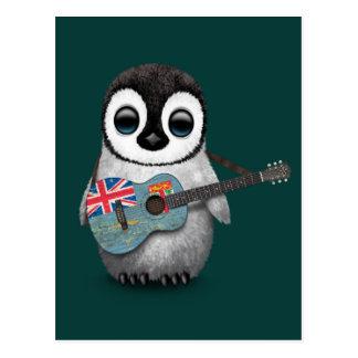 BabyPenguin, der die Fidschi-Flaggen-Gitarre Postkarte