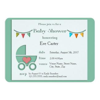 BabyPram Papercut Art-Babyparty Karte