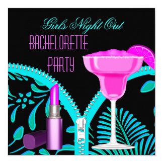 Bachelorette Mädchen-Nachtheraus aquamarines Quadratische 13,3 Cm Einladungskarte