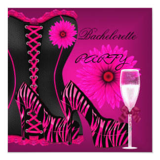 Bachelorette Party Corset Zebra Black Pink Shoes Karte