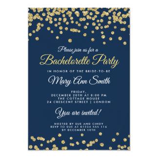 Bachelorette Party Gold Faux Glitter Confetti Navy Karte
