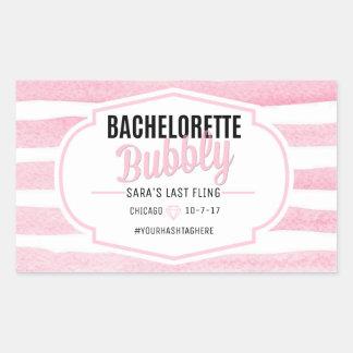 Bachelorette | rosa Aufkleber Streifen-| Champagne