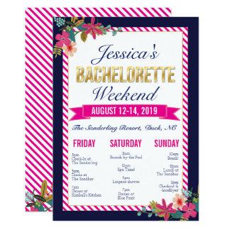 Bachelorette Wochenenden-Routen-Einladung Karte