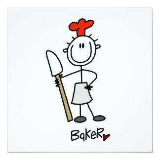 Bäcker mit Schaber Quadratische 13,3 Cm Einladungskarte