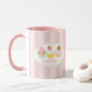 Bäckerei-Café-Retro süße kleine Kuchen niedlich Tasse