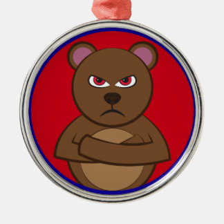 Bad angry bear silbernes ornament