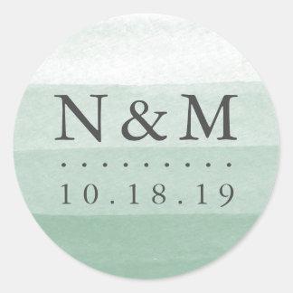 Bad-Färbungs-Aquarell-Hochzeits-Monogramm des Runder Aufkleber