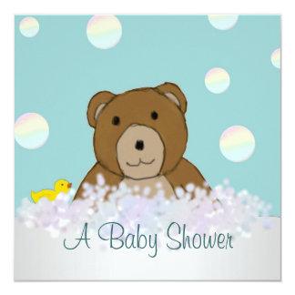 Bad-Zeit-Teddybär-Babyparty-Einladung Quadratische 13,3 Cm Einladungskarte