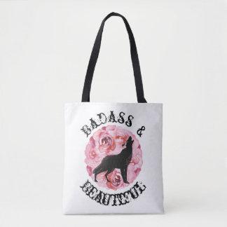 Badass und schöne Wolf-und Rosen-Weiß-Tasche Tasche