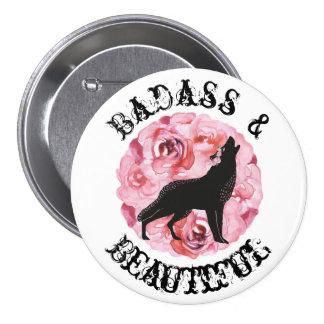 Badass und schöner schwarzer Wolf und Rosen-Knopf Runder Button 7,6 Cm