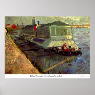 Baden des Floßes auf der Seine bei Asniere durch Poster