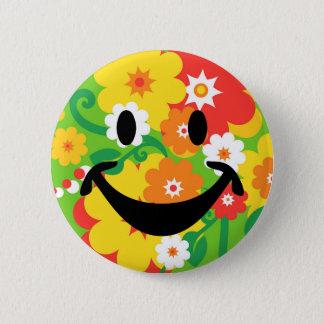 Badge Rond 5 Cm Papier peint drôle et smiley de flower power