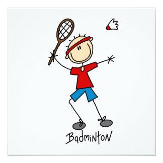 Badminton-Spieler-T - Shirts und Geschenke Quadratische 13,3 Cm Einladungskarte