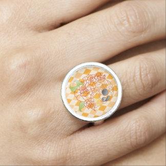 Bague Rétro anneau à motifs de losanges jaune de crâne