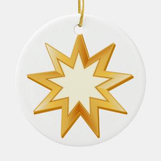 Baha'i Symbol Rundes Keramik Ornament