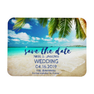 Bahamas-Strand-Hochzeits-Save the Date Magneten Magnet