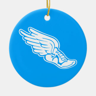 Bahn-Logo-Verzierungs-Blau Rundes Keramik Ornament