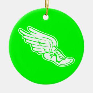Bahn-Logo-Verzierungs-Grün Rundes Keramik Ornament