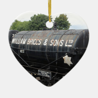 Bahnszene - Tanker - Vintag Keramik Herz-Ornament