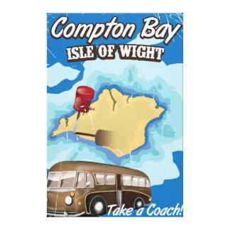 Baie de Compton, île d'affiche vintage de voyage Toiles